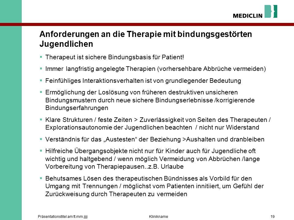 Anforderungen an die Therapie mit bindungsgestörten Jugendlichen  Therapeut ist sichere Bindungsbasis für Patient.