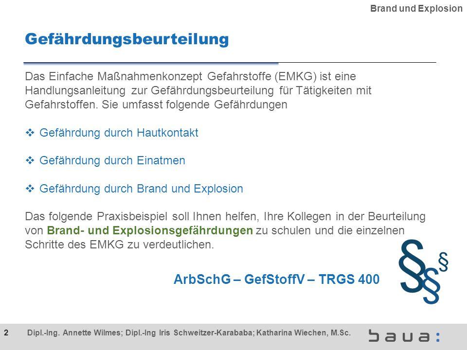 Gefährdungsbeurteilung ArbSchG – GefStoffV – TRGS 400 § § § Das Einfache Maßnahmenkonzept Gefahrstoffe (EMKG) ist eine Handlungsanleitung zur Gefährdungsbeurteilung für Tätigkeiten mit Gefahrstoffen.