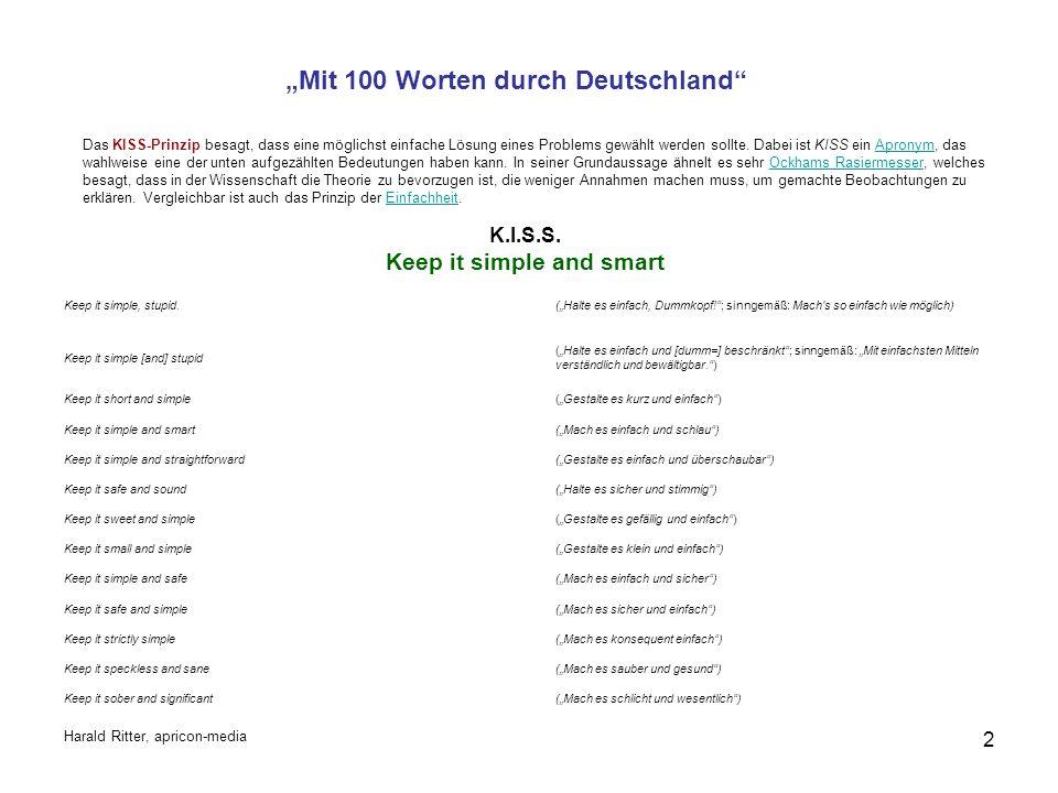 """""""Mit 100 Worten durch Deutschland K.I.S.S."""
