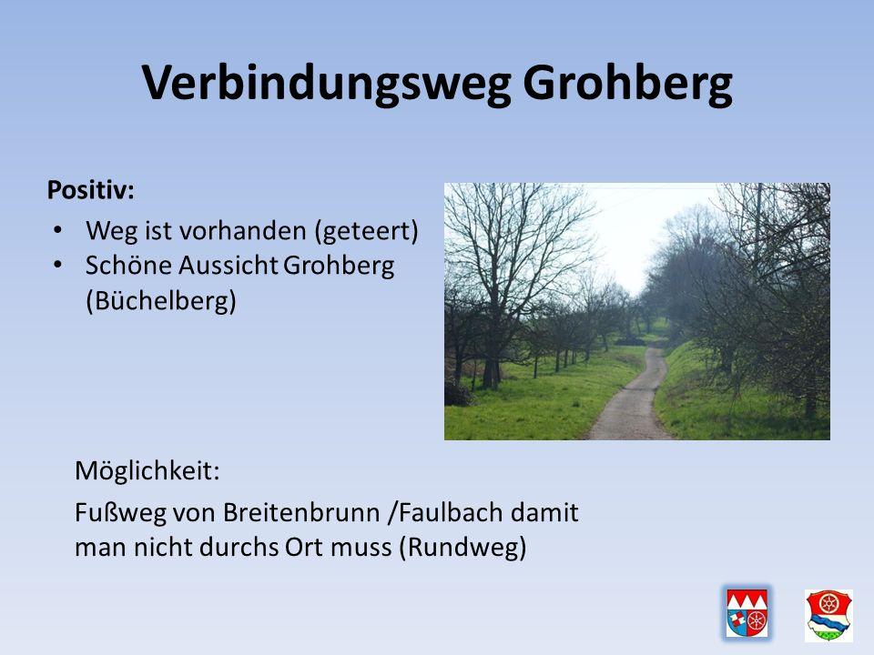 Verbindungsweg Grohberg Positiv: Weg ist vorhanden (geteert) Schöne Aussicht Grohberg (Büchelberg) Möglichkeit: Fußweg von Breitenbrunn /Faulbach damit man nicht durchs Ort muss (Rundweg)