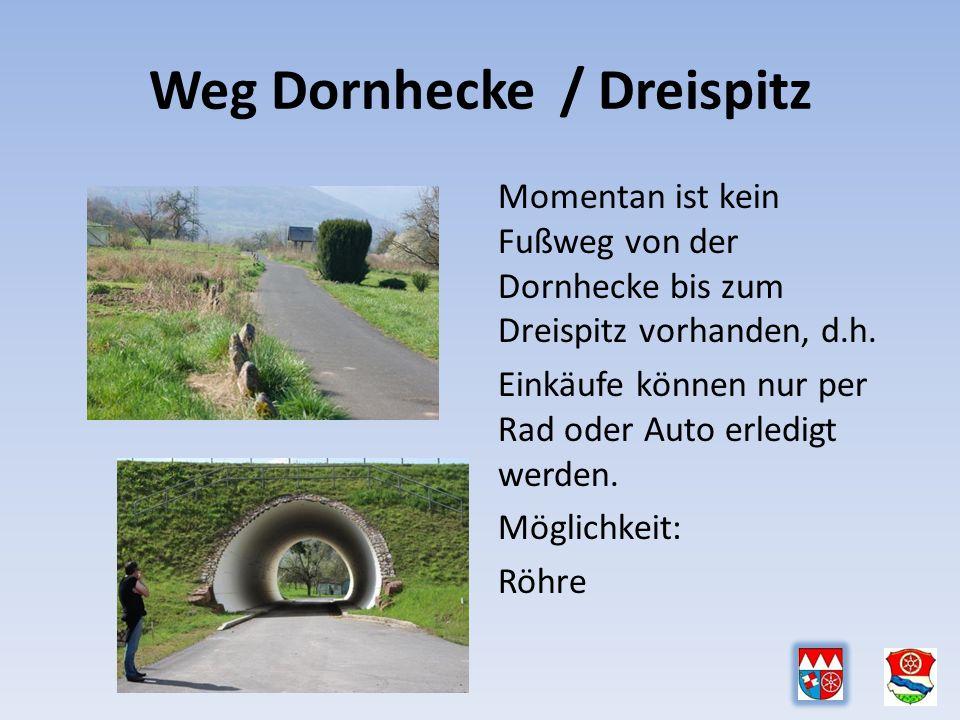 Weg Dornhecke / Dreispitz Momentan ist kein Fußweg von der Dornhecke bis zum Dreispitz vorhanden, d.h.