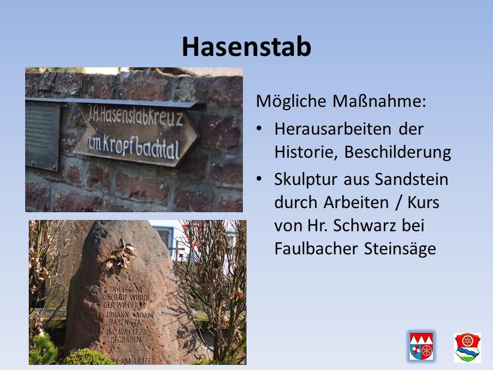 Hasenstab Mögliche Maßnahme: Herausarbeiten der Historie, Beschilderung Skulptur aus Sandstein durch Arbeiten / Kurs von Hr.