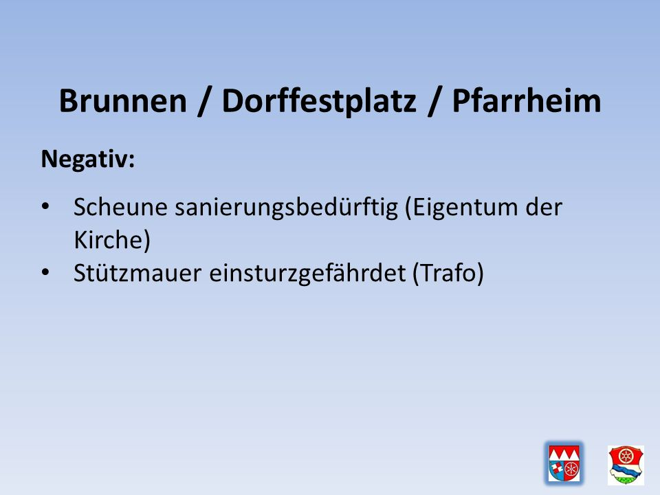 Brunnen / Dorffestplatz / Pfarrheim Negativ: Scheune sanierungsbedürftig (Eigentum der Kirche) Stützmauer einsturzgefährdet (Trafo)