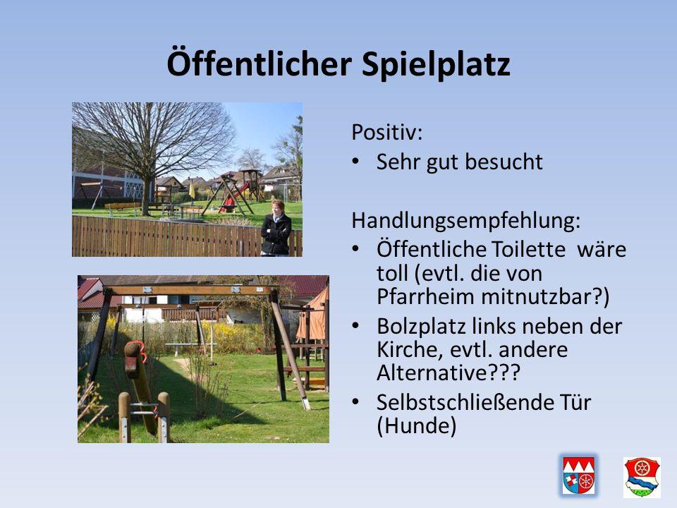 Öffentlicher Spielplatz Positiv: Sehr gut besucht Handlungsempfehlung: Öffentliche Toilette wäre toll (evtl.