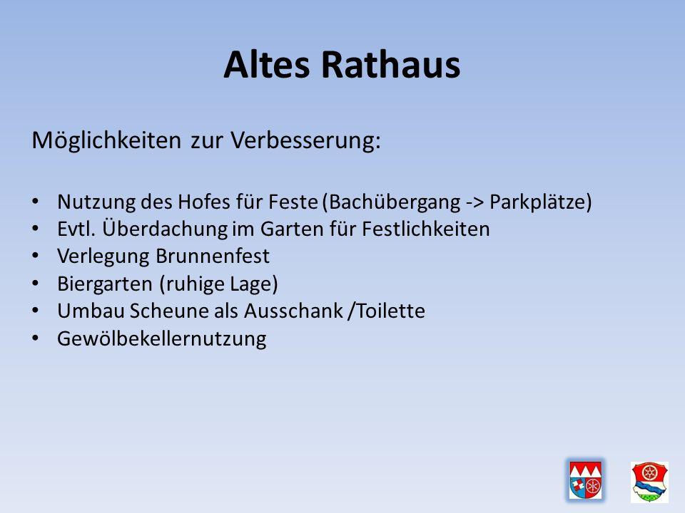 Altes Rathaus Möglichkeiten zur Verbesserung: Nutzung des Hofes für Feste (Bachübergang -> Parkplätze) Evtl.