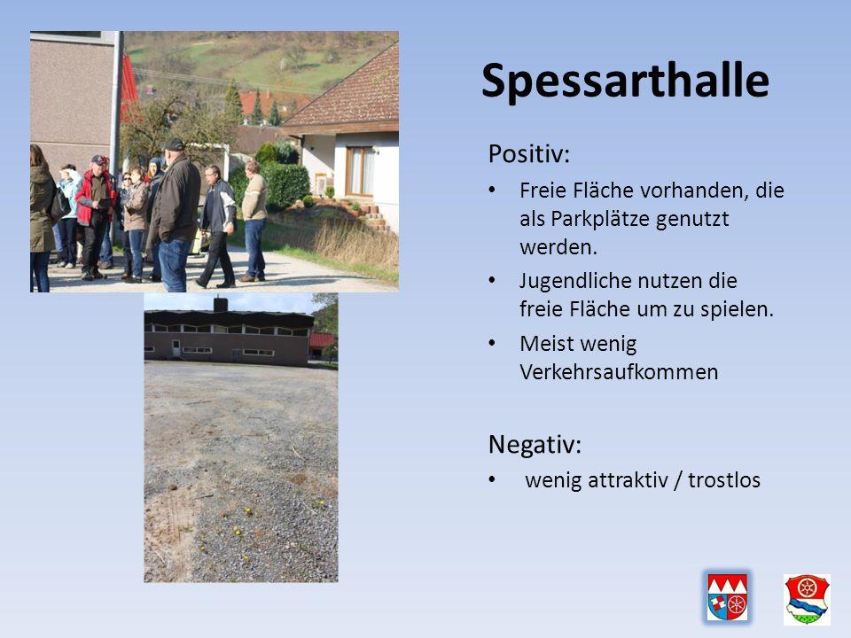 Spessarthalle Positiv: Freie Fläche vorhanden, die als Parkplätze genutzt werden.
