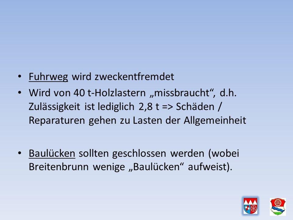 """Fuhrweg wird zweckentfremdet Wird von 40 t-Holzlastern """"missbraucht , d.h."""