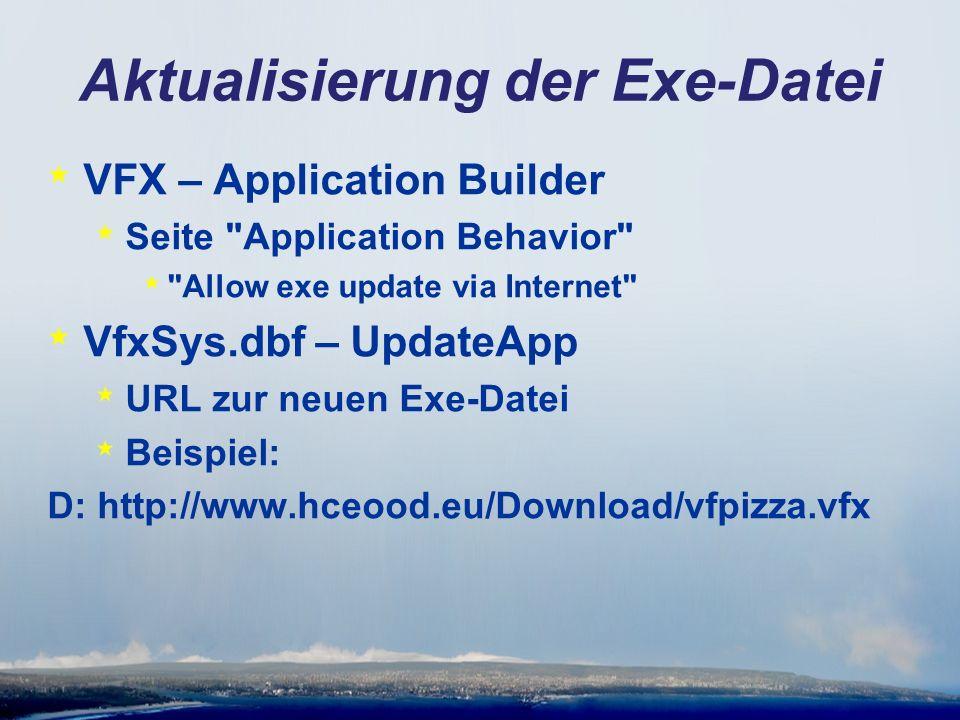 Aktualisierung der Exe-Datei * VFX – Application Builder * Seite Application Behavior * Allow exe update via Internet * VfxSys.dbf – UpdateApp * URL zur neuen Exe-Datei * Beispiel: D: http://www.hceood.eu/Download/vfpizza.vfx