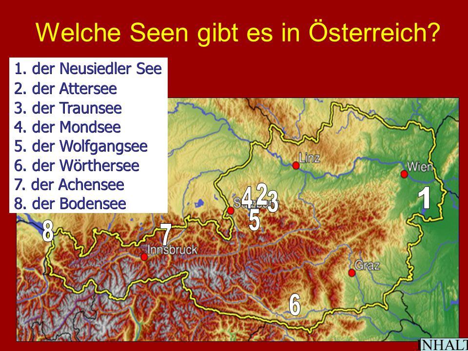 Welche Seen gibt es in Österreich. 1. der Neusiedler See 2.