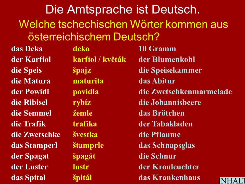 Die Amtsprache ist Deutsch. Welche tschechischen Wörter kommen aus österreichischem Deutsch.