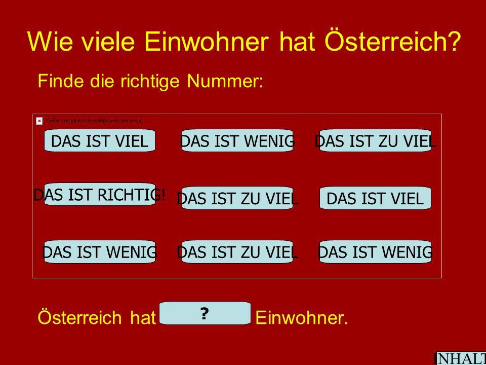 Wie viele Einwohner hat Österreich. Finde die richtige Nummer: Österreich hat 8.