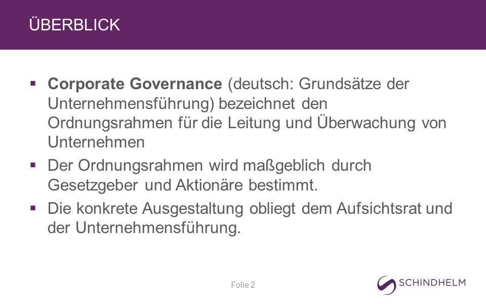 ÜBERBLICK  Corporate Governance (deutsch: Grundsätze der Unternehmensführung) bezeichnet den Ordnungsrahmen für die Leitung und Überwachung von Unternehmen  Der Ordnungsrahmen wird maßgeblich durch Gesetzgeber und Aktionäre bestimmt.