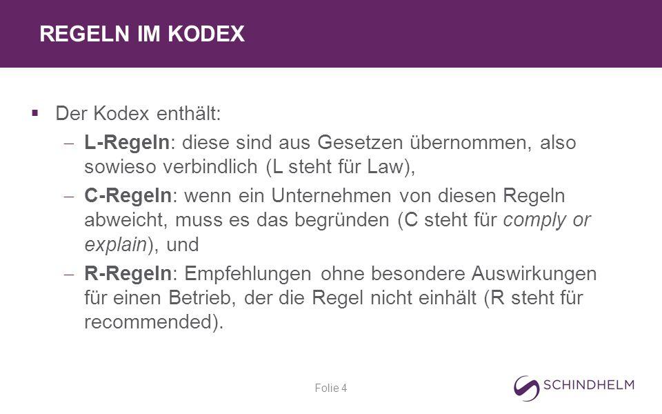 REGELN IM KODEX Folie 4  Der Kodex enthält:  L-Regeln: diese sind aus Gesetzen übernommen, also sowieso verbindlich (L steht für Law),  C-Regeln: wenn ein Unternehmen von diesen Regeln abweicht, muss es das begründen (C steht für comply or explain), und  R-Regeln: Empfehlungen ohne besondere Auswirkungen für einen Betrieb, der die Regel nicht einhält (R steht für recommended).