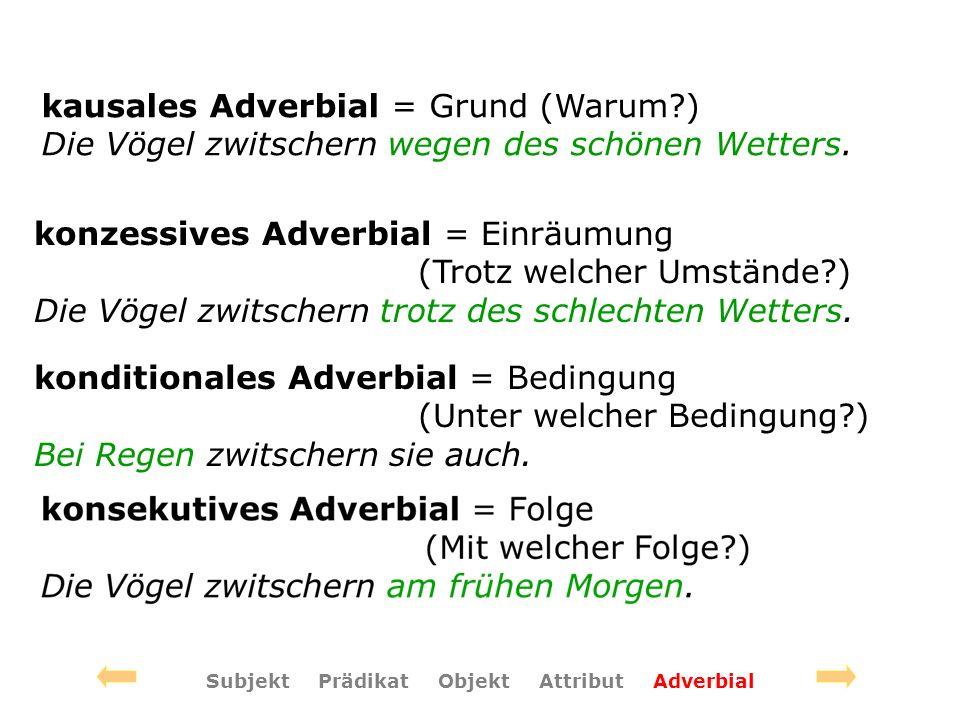 konzessives Adverbial = Einräumung (Trotz welcher Umstände ) Die Vögel zwitschern trotz des schlechten Wetters.