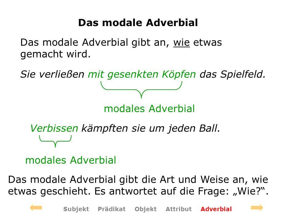 Das modale Adverbial Das modale Adverbial gibt an, wie etwas gemacht wird.