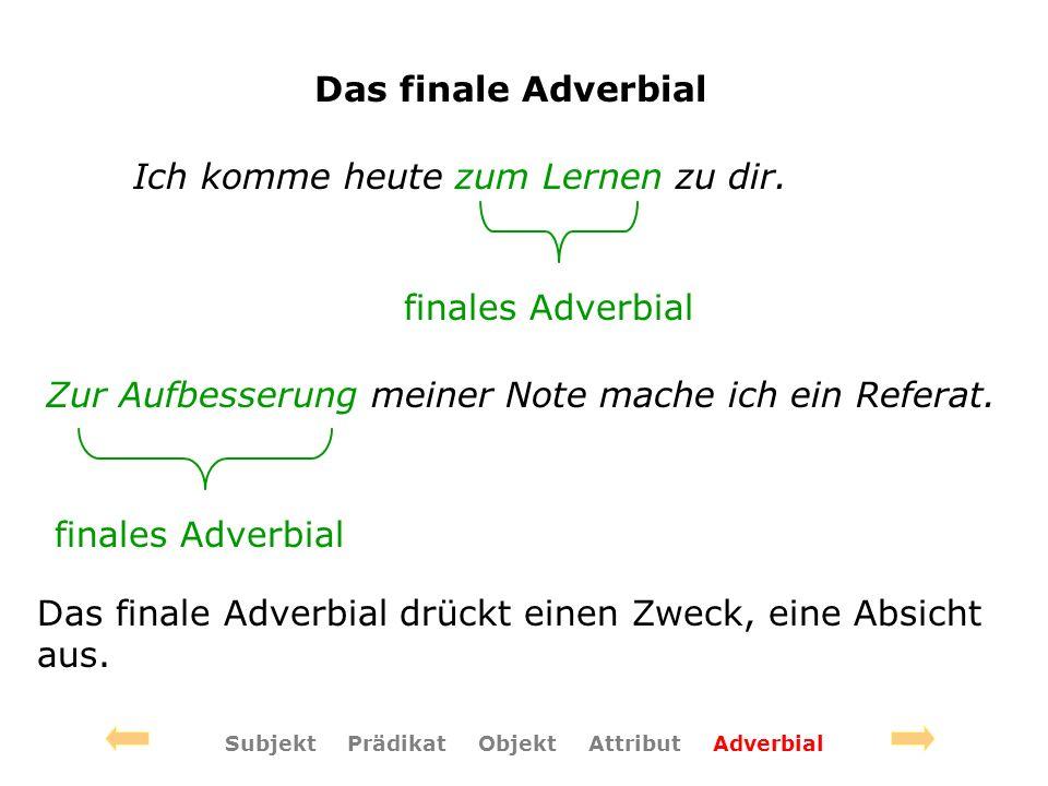 Das finale Adverbial Ich komme heute zum Lernen zu dir.
