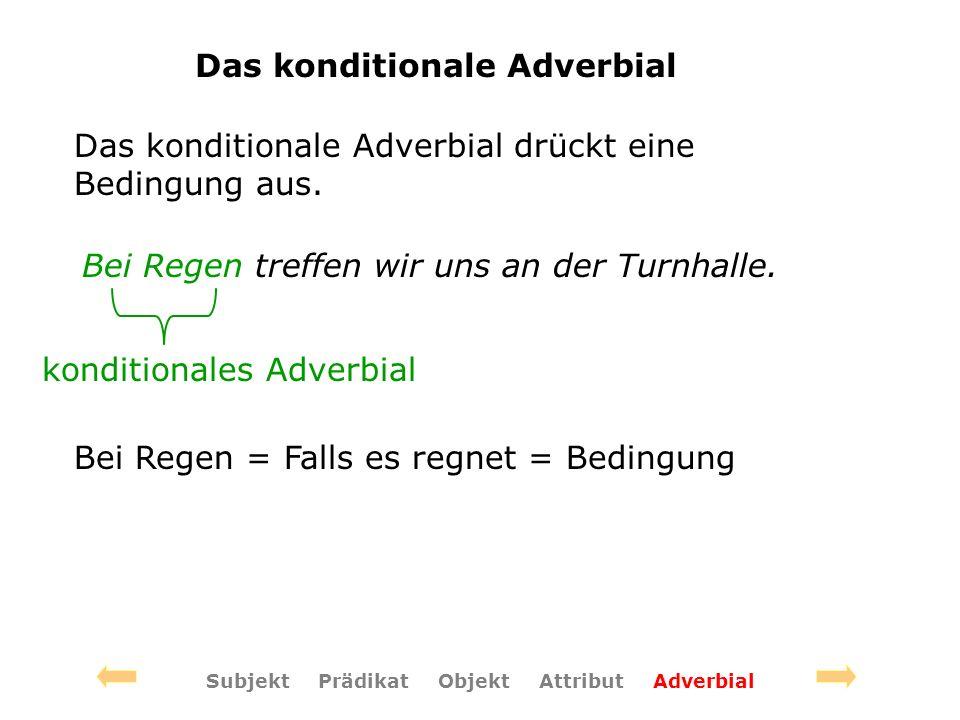 Das konditionale Adverbial Das konditionale Adverbial drückt eine Bedingung aus.