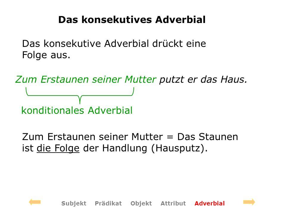 Das konsekutives Adverbial Das konsekutive Adverbial drückt eine Folge aus.