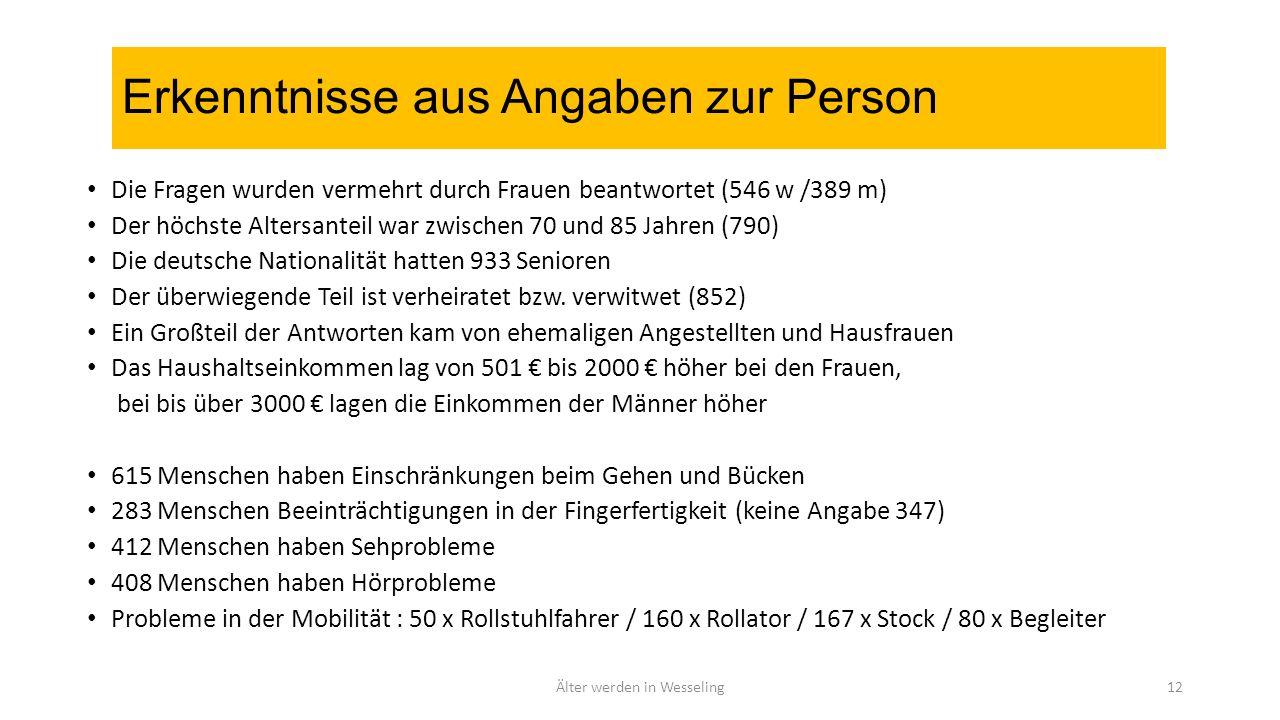 Erkenntnisse aus Angaben zur Person Die Fragen wurden vermehrt durch Frauen beantwortet (546 w /389 m) Der höchste Altersanteil war zwischen 70 und 85 Jahren (790) Die deutsche Nationalität hatten 933 Senioren Der überwiegende Teil ist verheiratet bzw.