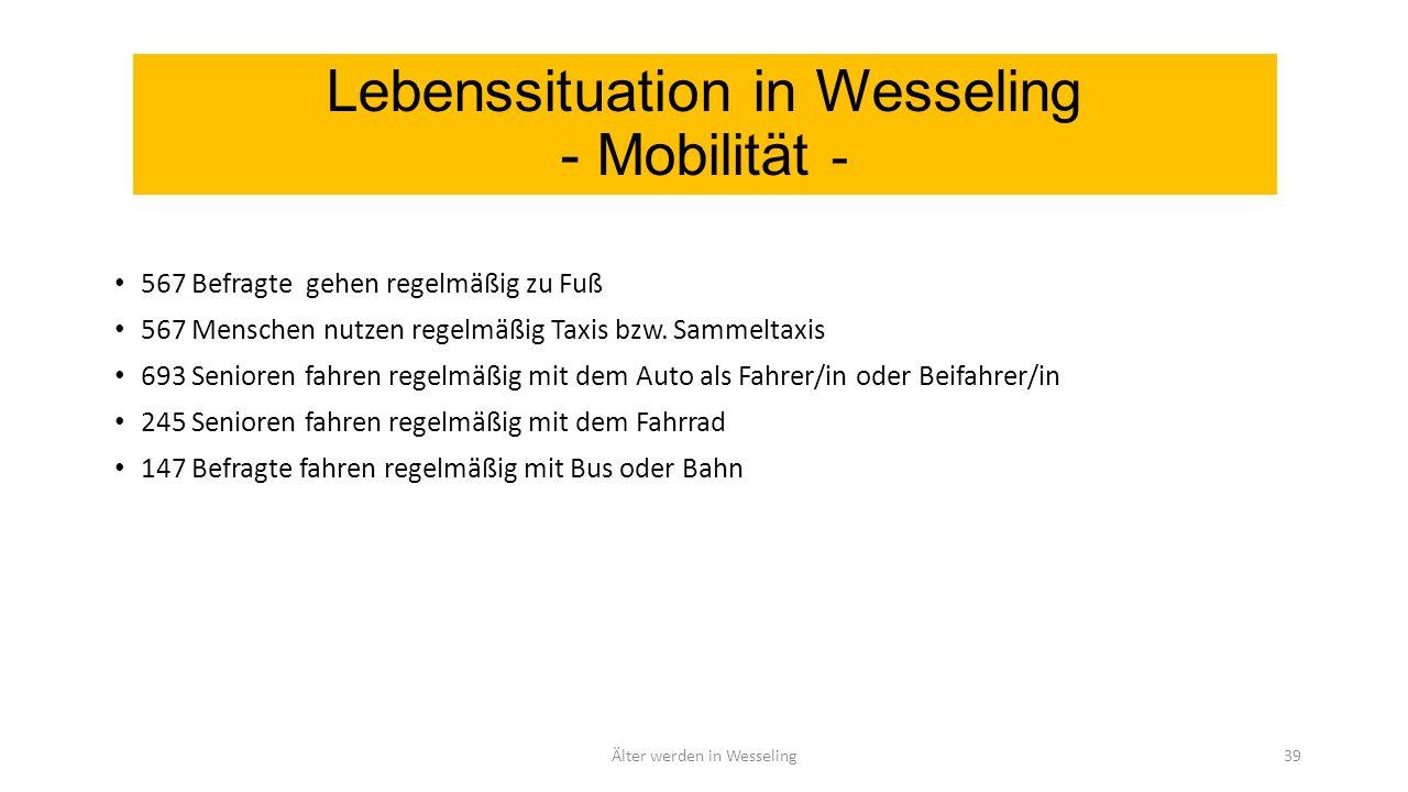 Lebenssituation in Wesseling - Mobilität - 567 Befragte gehen regelmäßig zu Fuß 567 Menschen nutzen regelmäßig Taxis bzw.