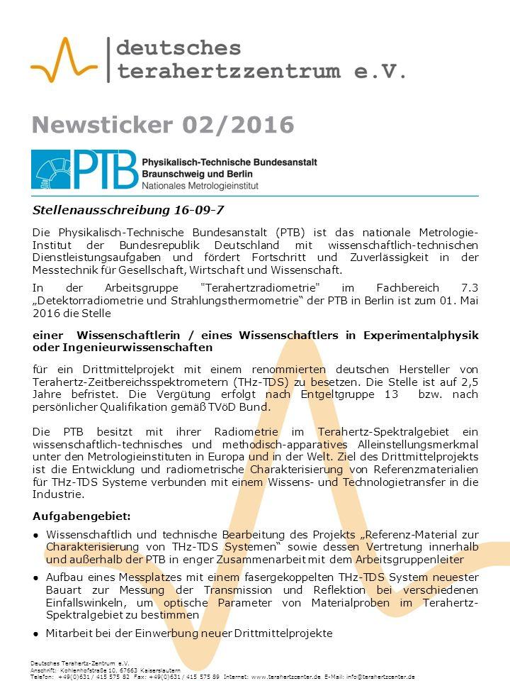 Newsticker 02/2016 Deutsches Terahertz-Zentrum e.V.