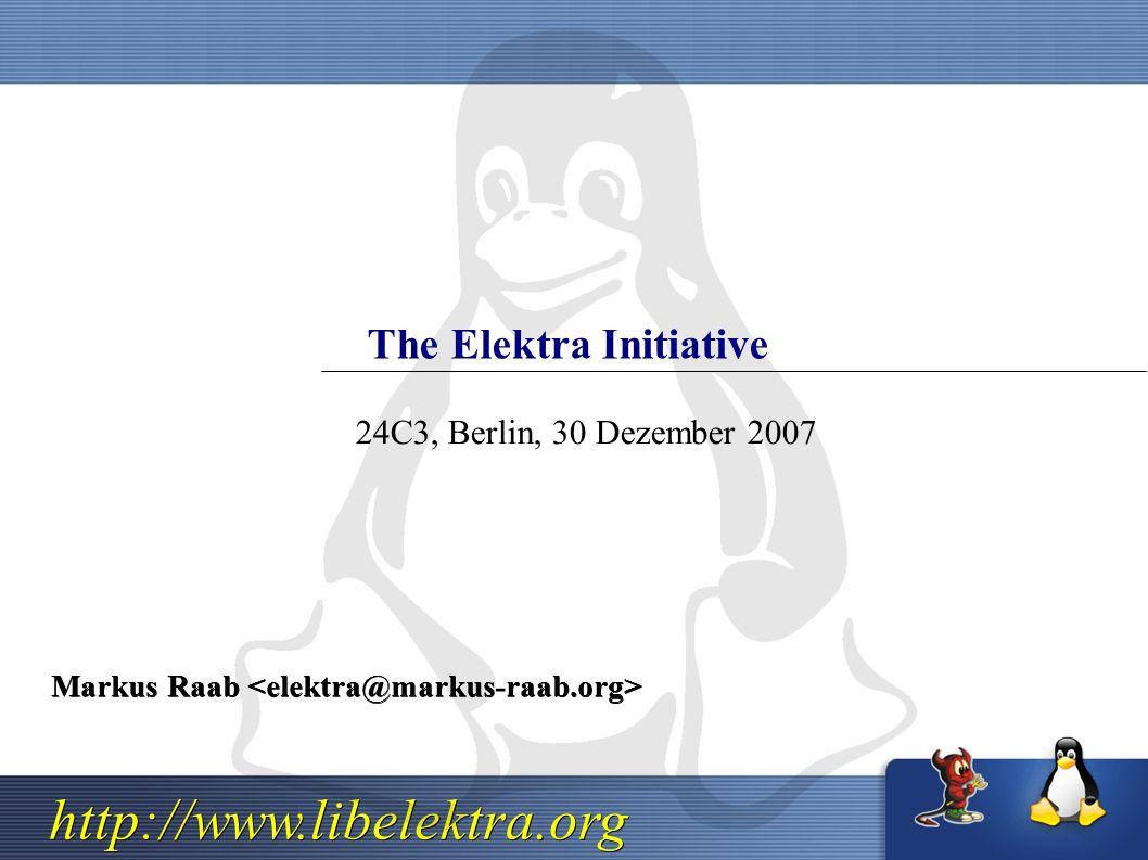 http://www.libelektra.org The Elektra Initiative Markus Raab Markus Raab 24C3, Berlin, 30 Dezember 2007