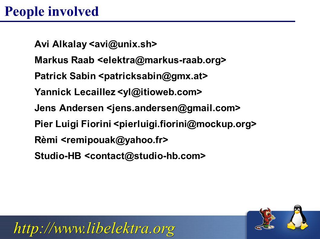 http://www.libelektra.org People involved  Avi Alkalay  Markus Raab  Patrick Sabin  Yannick Lecaillez  Jens Andersen  Pier Luigi Fiorini  Rèmi  Studio-HB
