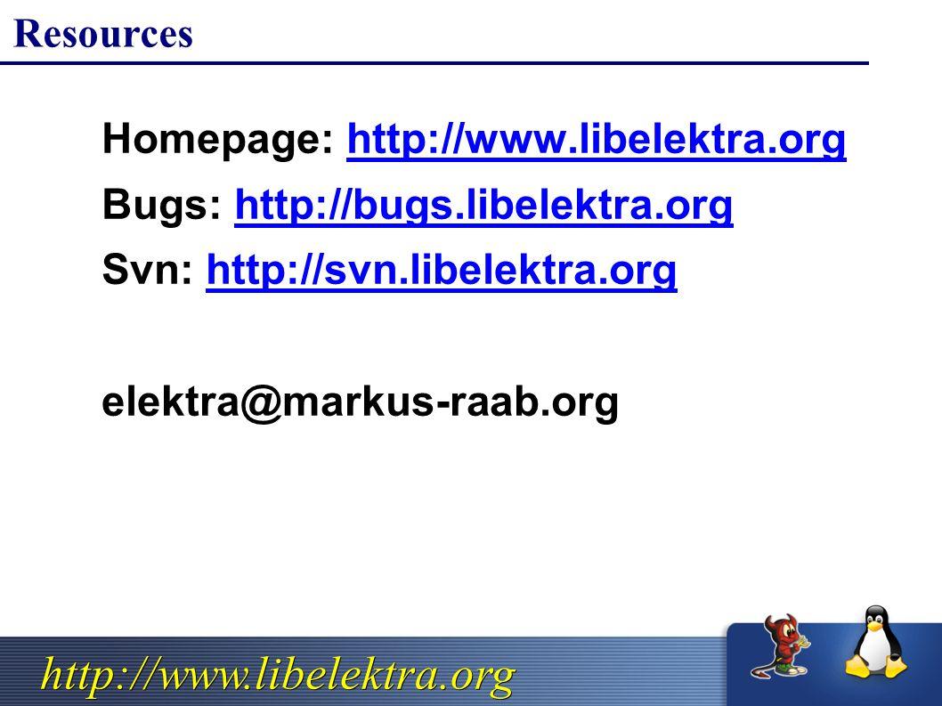 http://www.libelektra.org Resources  Homepage: http://www.libelektra.orghttp://www.libelektra.org  Bugs: http://bugs.libelektra.orghttp://bugs.libelektra.org  Svn: http://svn.libelektra.orghttp://svn.libelektra.org  elektra@markus-raab.org