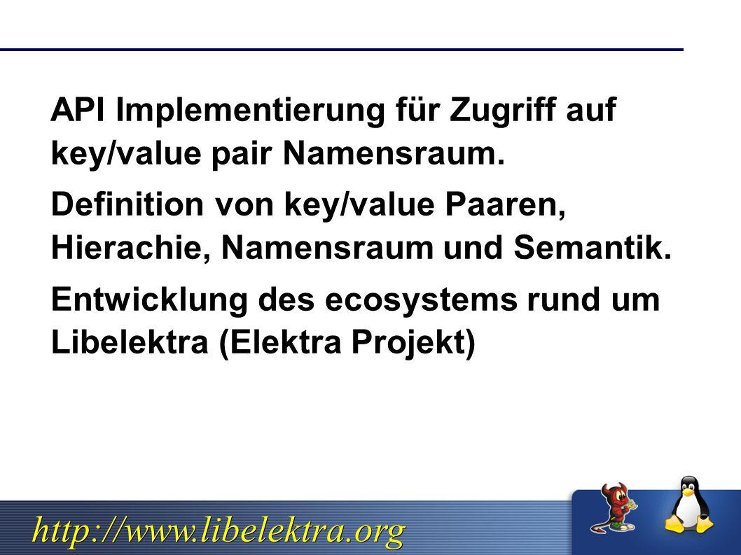 http://www.libelektra.org  API Implementierung für Zugriff auf key/value pair Namensraum.