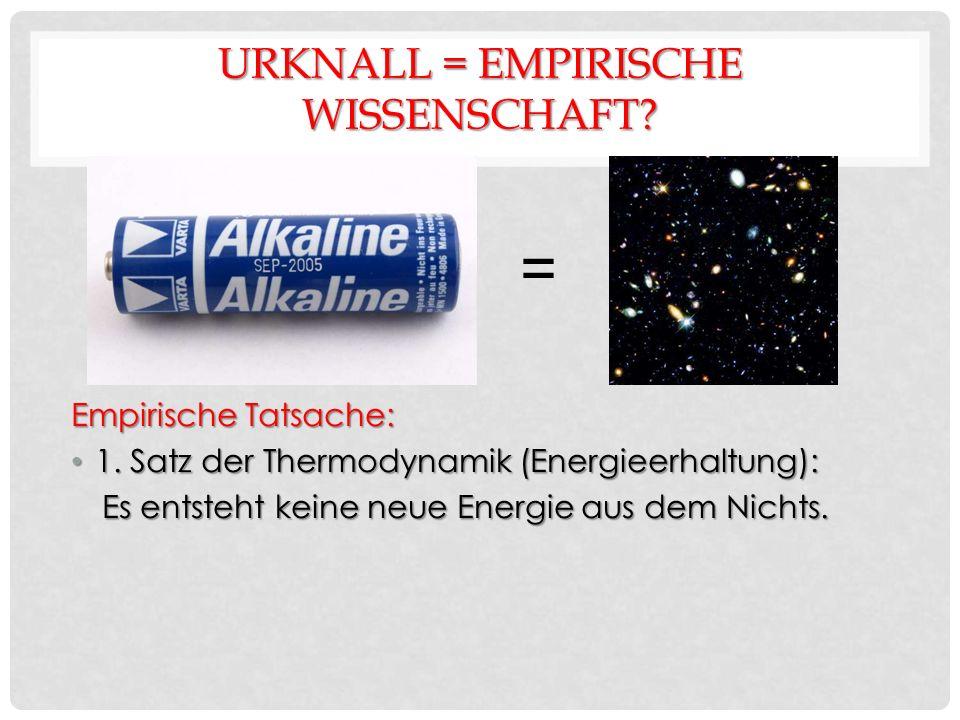 URKNALL = EMPIRISCHE WISSENSCHAFT. Empirische Tatsache: 1.