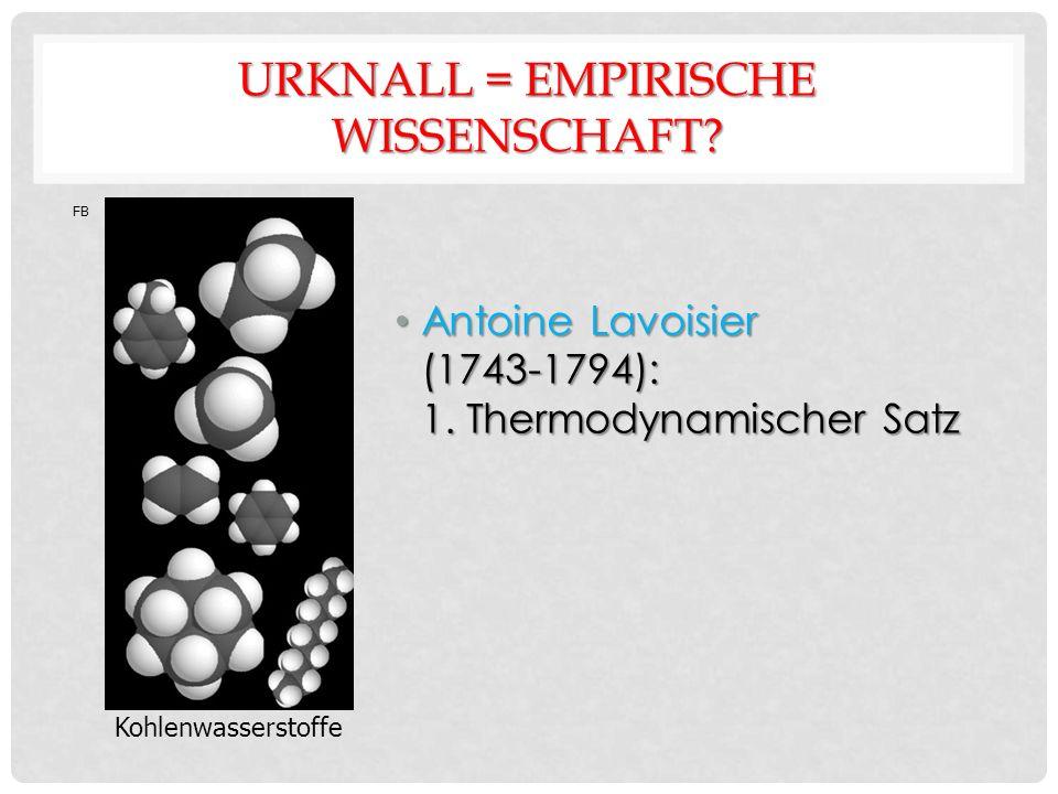 URKNALL = EMPIRISCHE WISSENSCHAFT. Antoine Lavoisier (1743-1794): 1.
