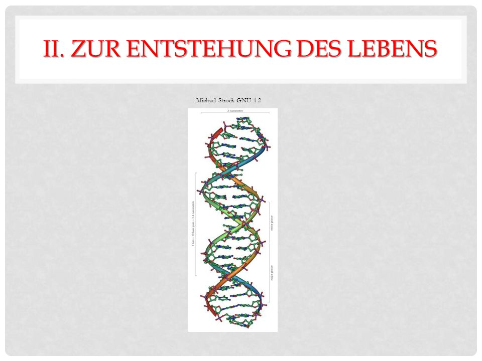 II. ZUR ENTSTEHUNG DES LEBENS Michael Ströck GNU 1.2