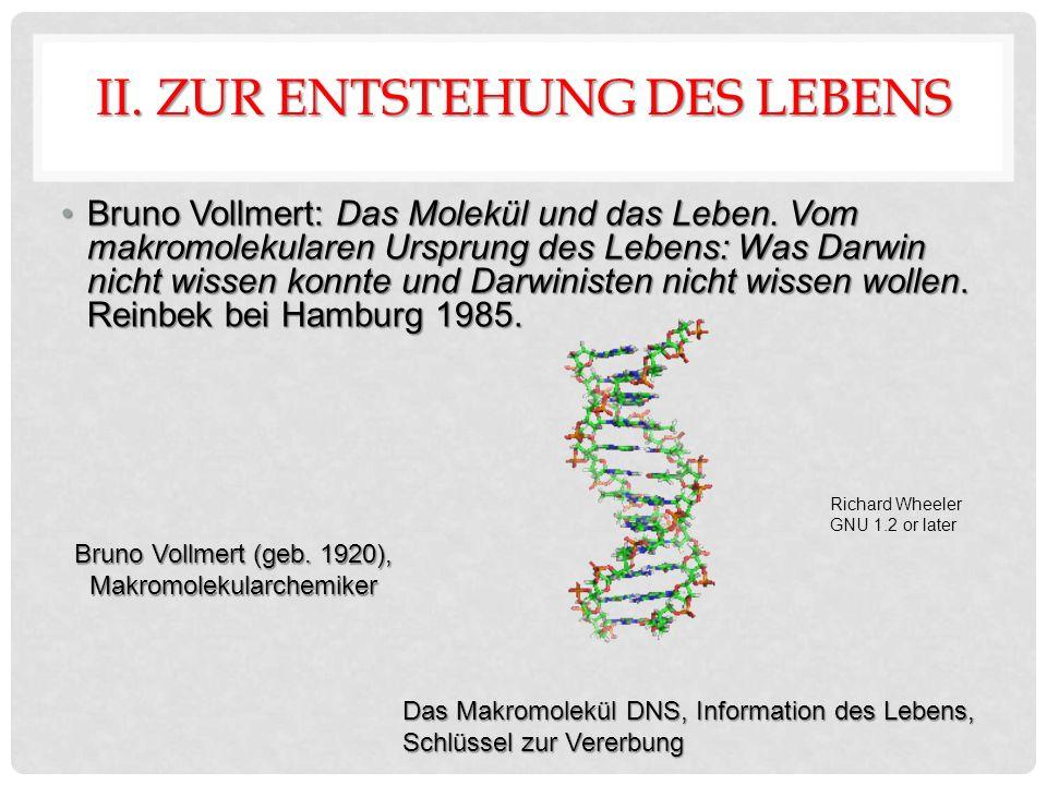 II. ZUR ENTSTEHUNG DES LEBENS Bruno Vollmert: Das Molekül und das Leben.