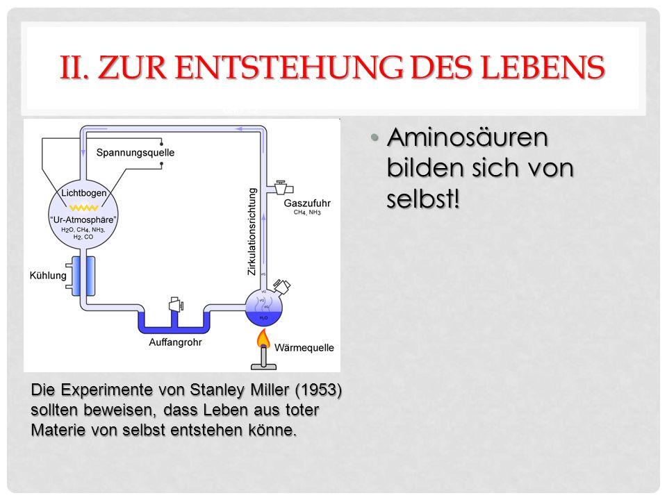 II. ZUR ENTSTEHUNG DES LEBENS Aminosäuren bilden sich von selbst.