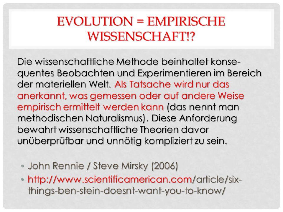 EVOLUTION = EMPIRISCHE WISSENSCHAFT!.
