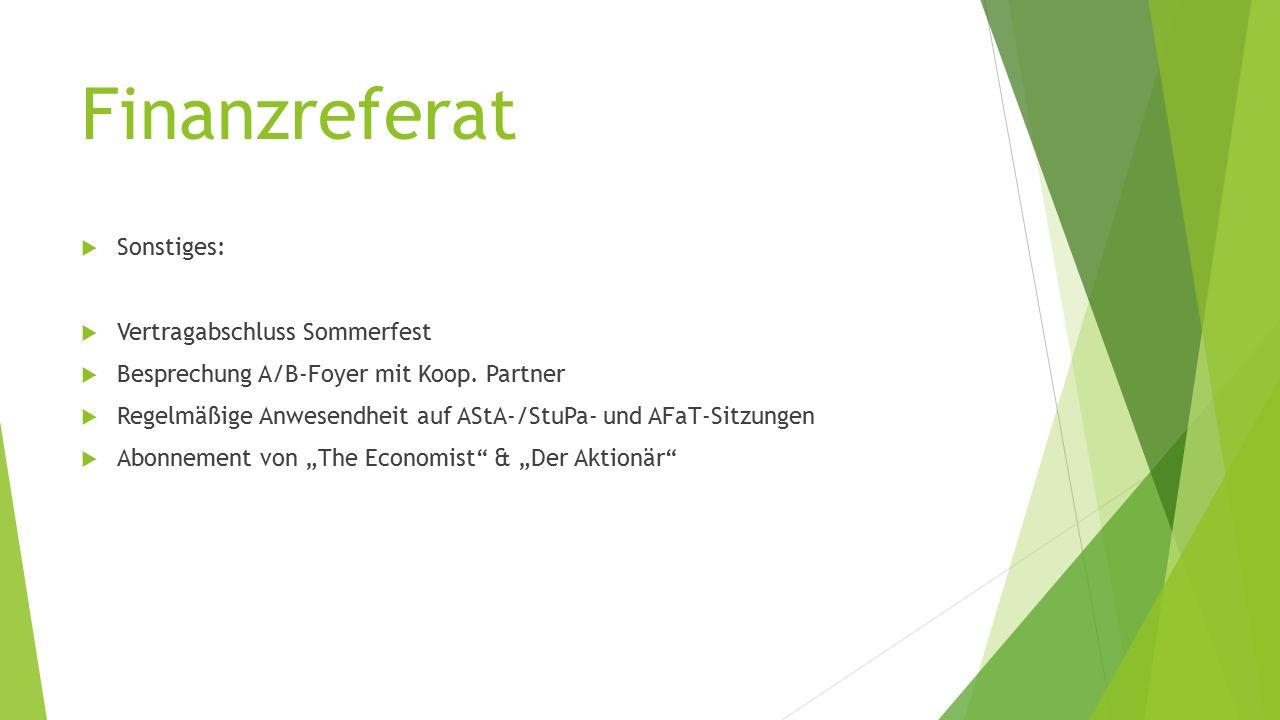Finanzreferat  Sonstiges:  Vertragabschluss Sommerfest  Besprechung A/B-Foyer mit Koop.