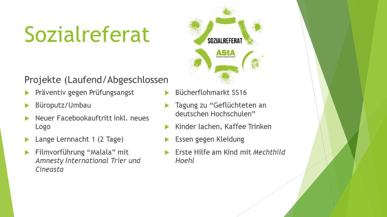 Sozialreferat Projekte (Laufend/Abgeschlossen  Präventiv gegen Prüfungsangst  Büroputz/Umbau  Neuer Facebookauftritt inkl.