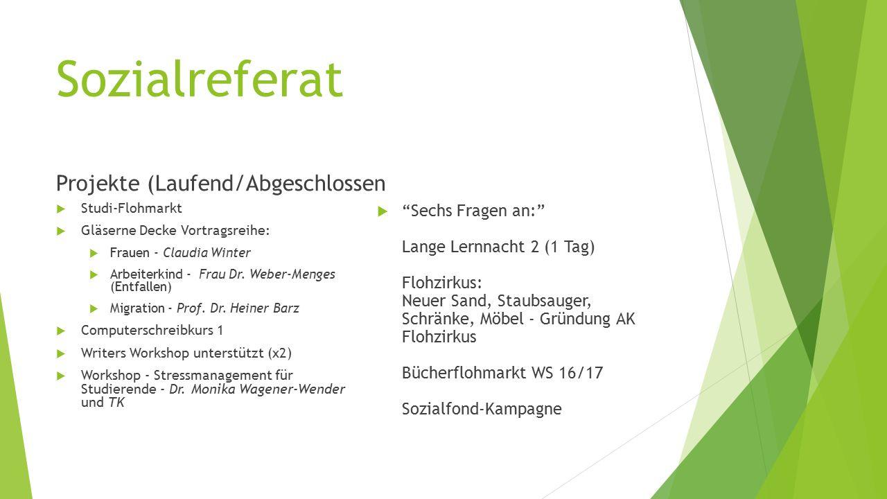 Sozialreferat Projekte (Laufend/Abgeschlossen  Studi-Flohmarkt  Gläserne Decke Vortragsreihe:  Frauen - Claudia Winter  Arbeiterkind - Frau Dr.