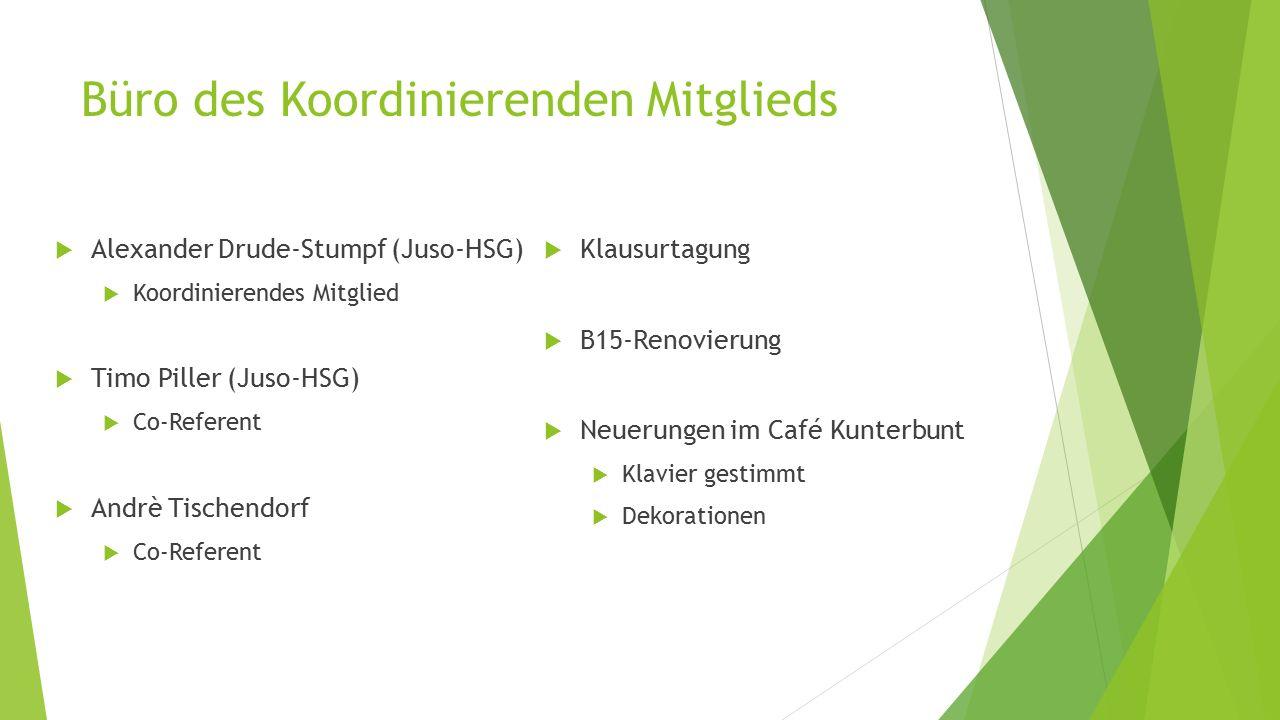 Büro des Koordinierenden Mitglieds  Alexander Drude-Stumpf (Juso-HSG)  Koordinierendes Mitglied  Timo Piller (Juso-HSG)  Co-Referent  Andrè Tischendorf  Co-Referent  Klausurtagung  B15-Renovierung  Neuerungen im Café Kunterbunt  Klavier gestimmt  Dekorationen