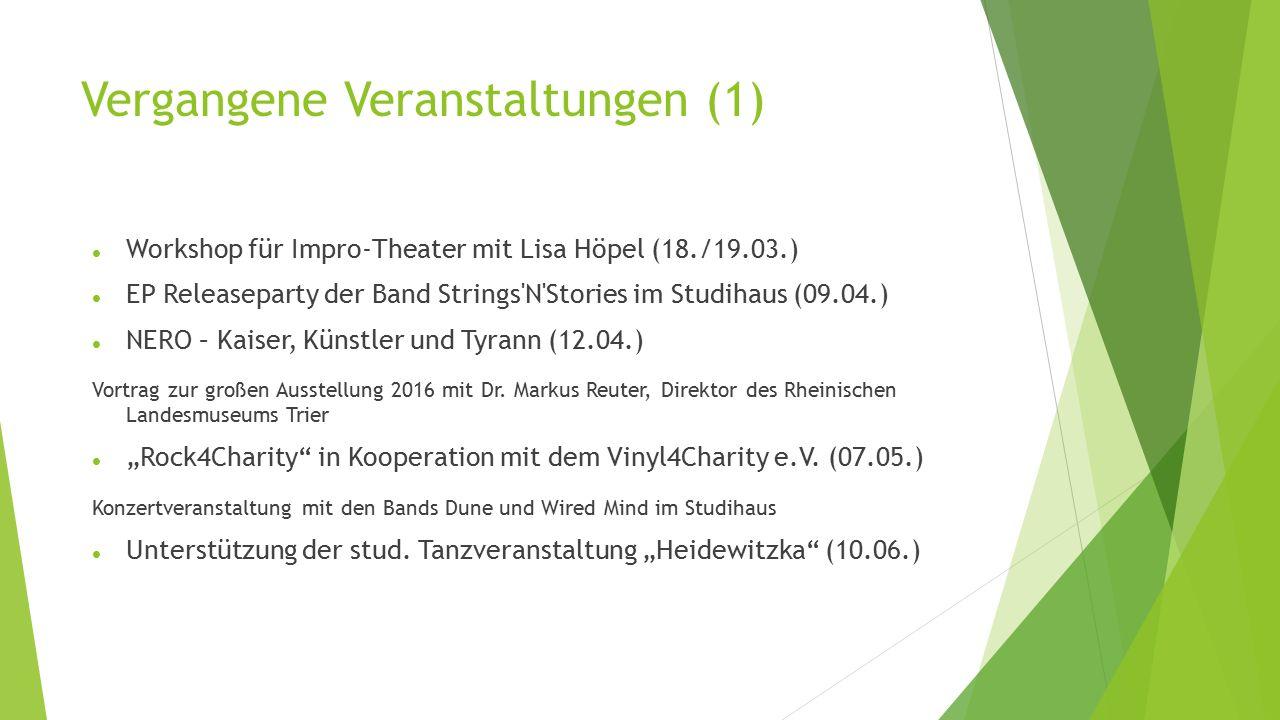 Vergangene Veranstaltungen (1) Workshop für Impro-Theater mit Lisa Höpel (18./19.03.) EP Releaseparty der Band Strings N Stories im Studihaus (09.04.) NERO – Kaiser, Künstler und Tyrann (12.04.) Vortrag zur großen Ausstellung 2016 mit Dr.