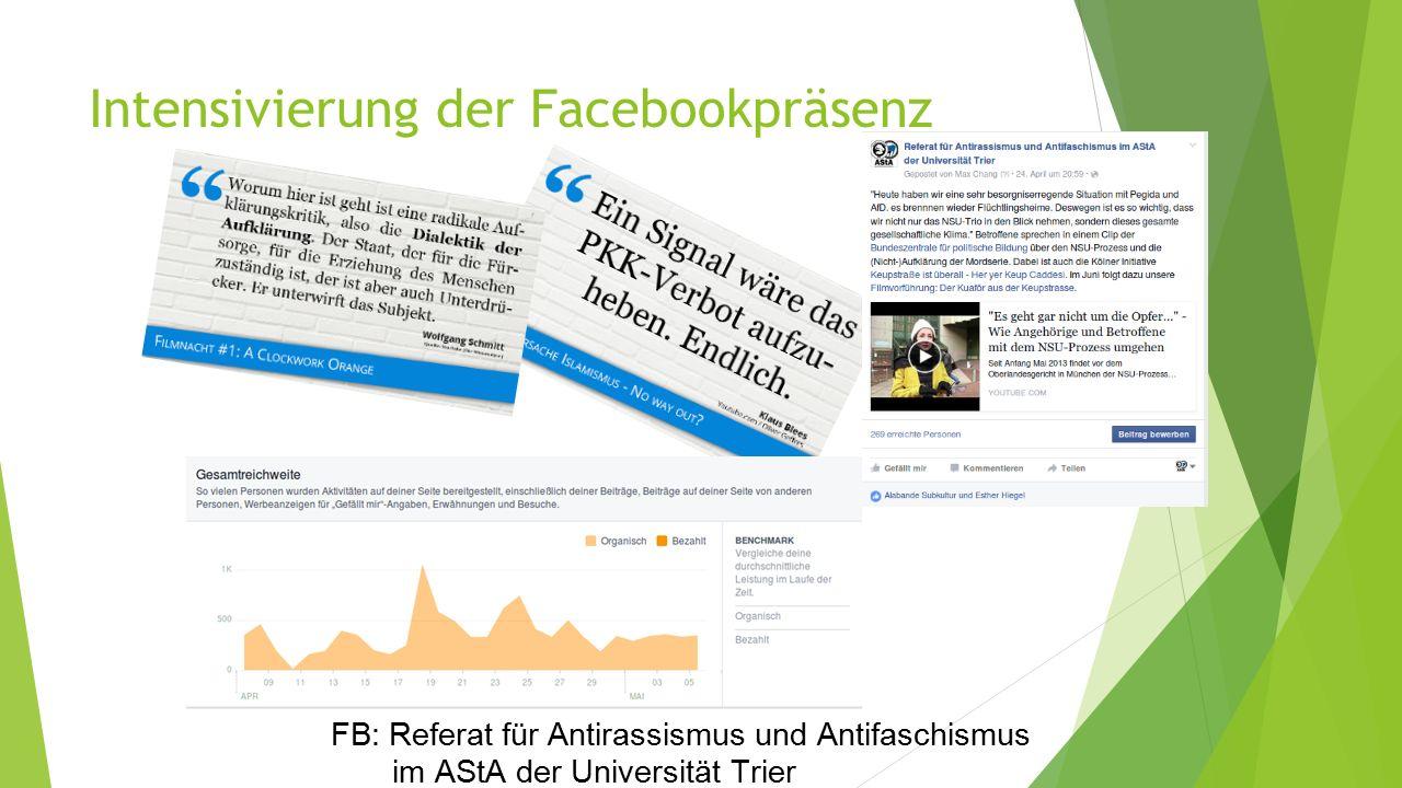 Intensivierung der Facebookpräsenz FB: Referat für Antirassismus und Antifaschismus im AStA der Universität Trier