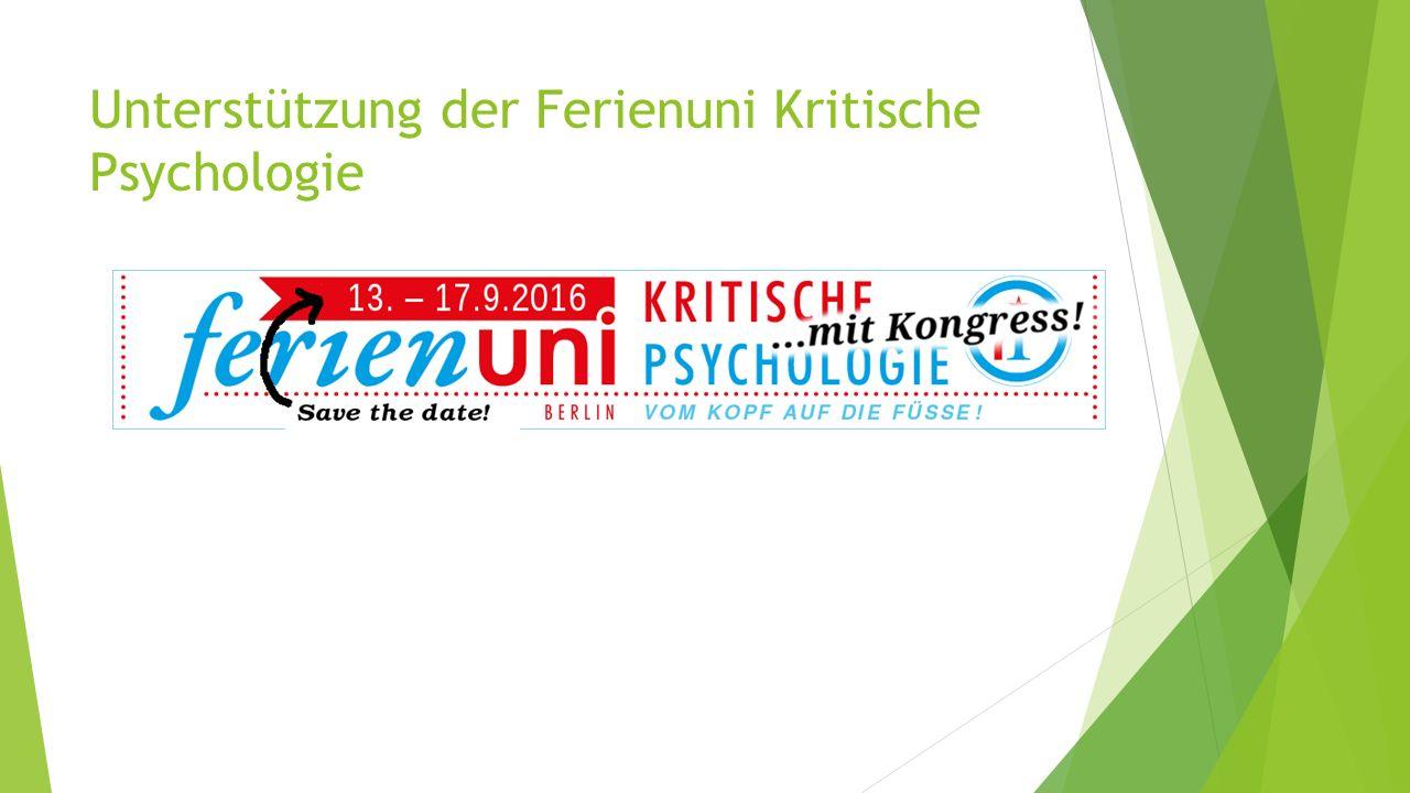 Unterstützung der Ferienuni Kritische Psychologie