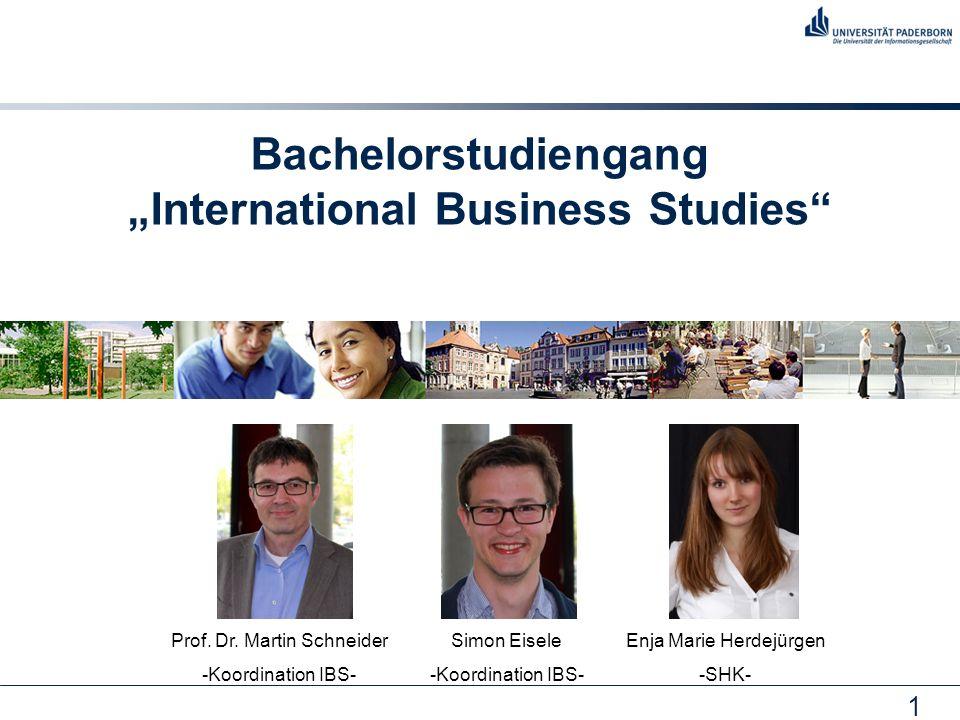 "1 Bachelorstudiengang ""International Business Studies Prof."