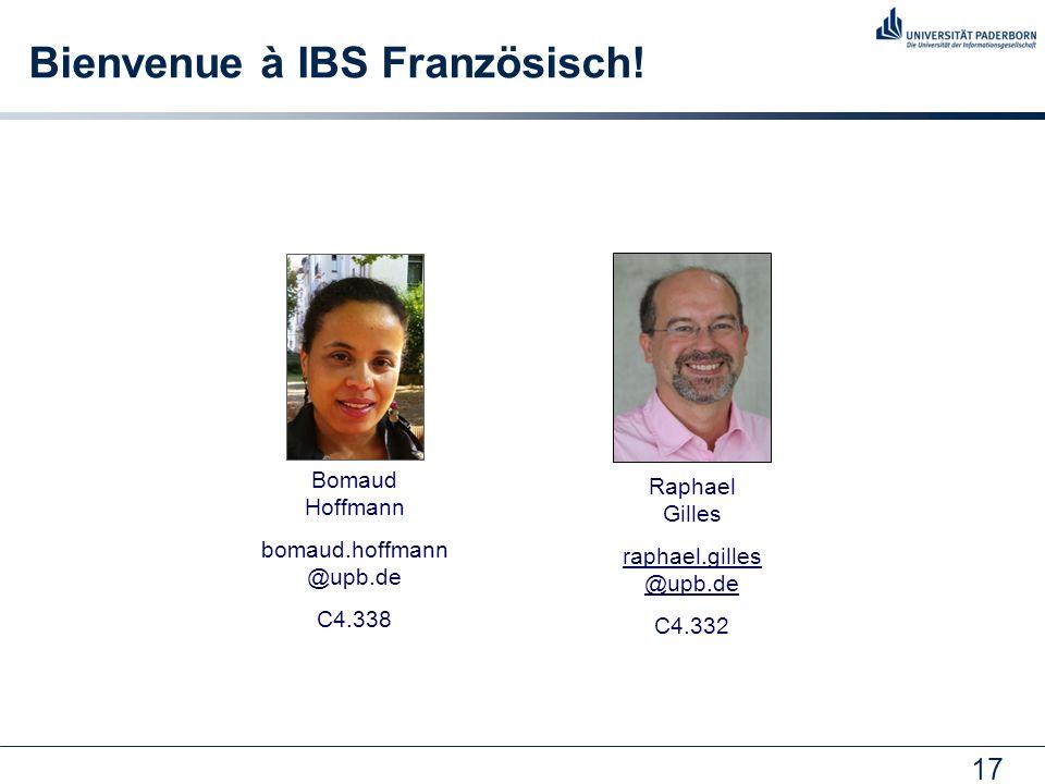 17 Bienvenue à IBS Französisch.