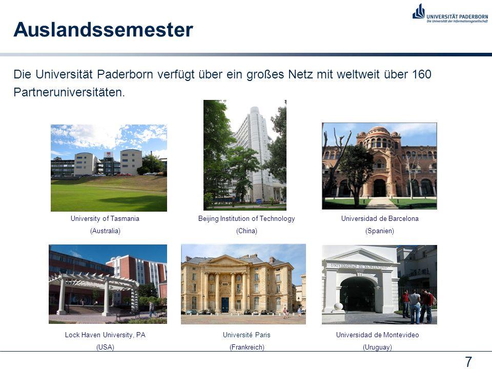 7 Auslandssemester Die Universität Paderborn verfügt über ein großes Netz mit weltweit über 160 Partneruniversitäten.