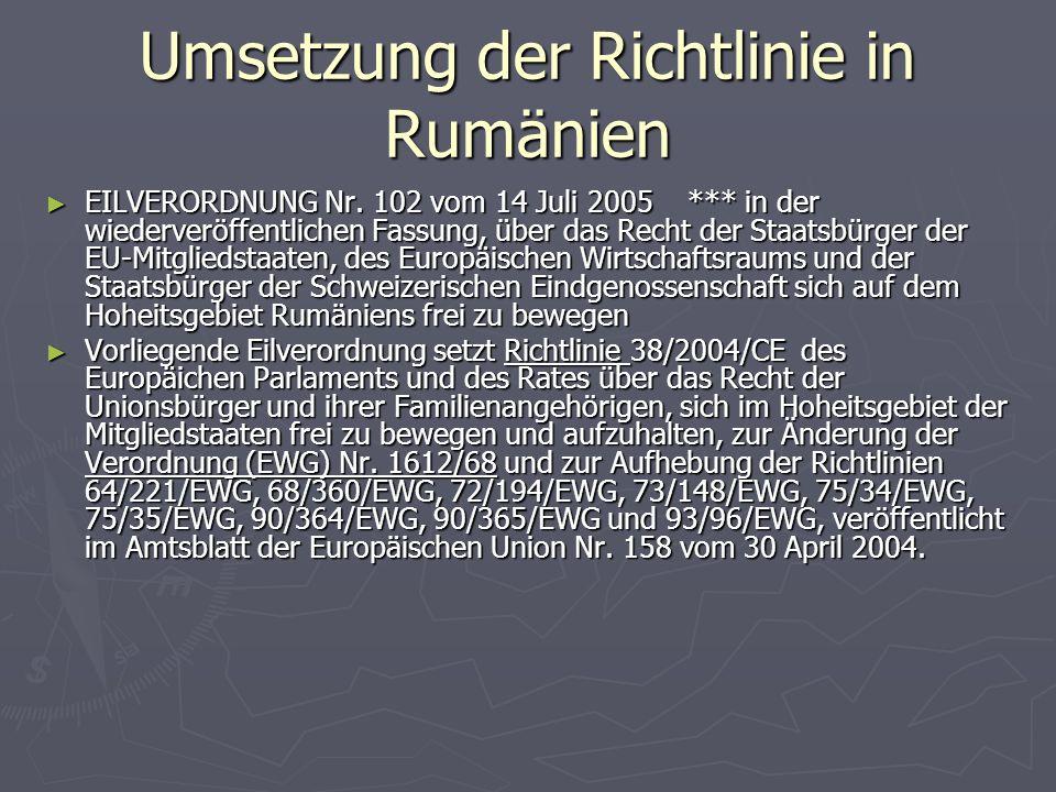 Umsetzung der Richtlinie in Rumänien ► EILVERORDNUNG Nr.