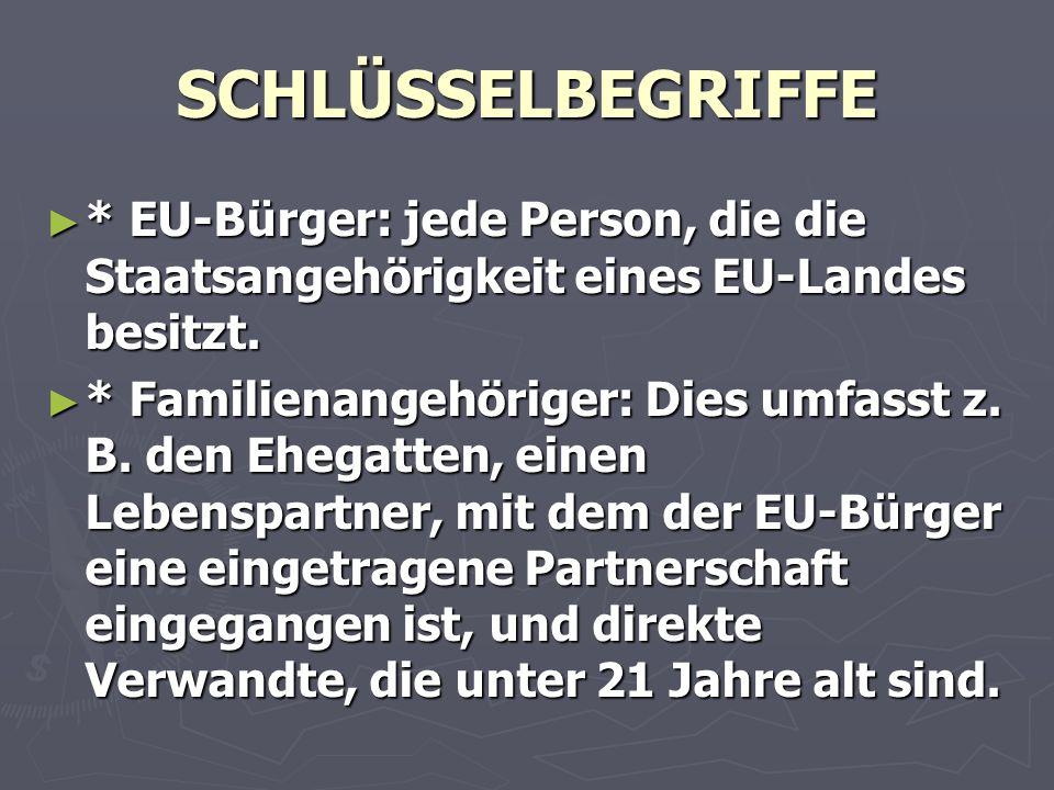 SCHLÜSSELBEGRIFFE ► * EU-Bürger: jede Person, die die Staatsangehörigkeit eines EU-Landes besitzt.