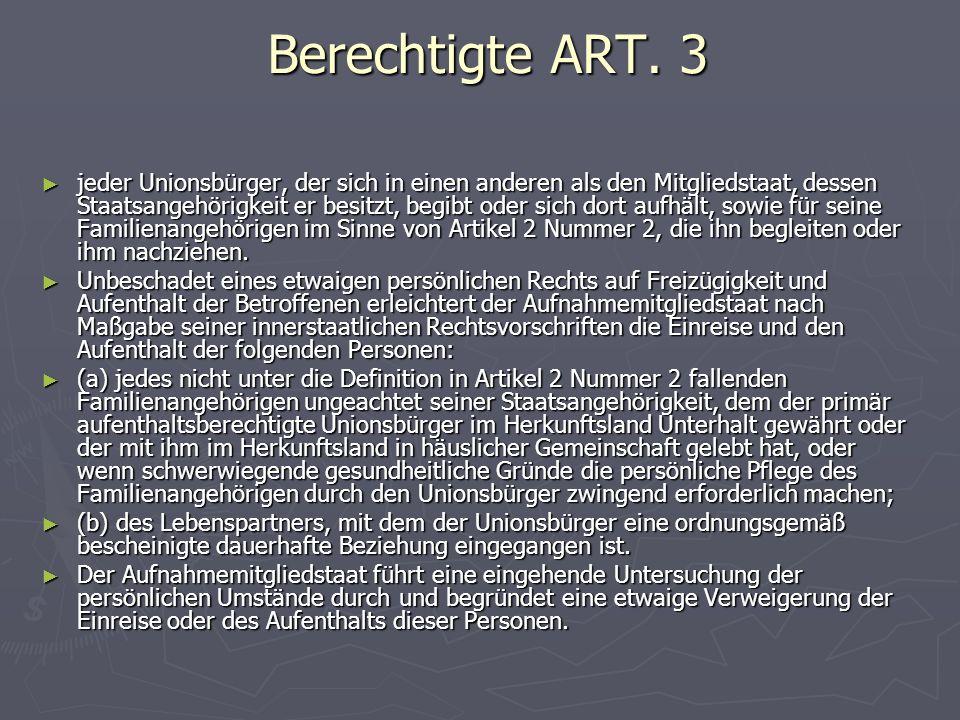 Berechtigte ART. 3 Berechtigte ART.