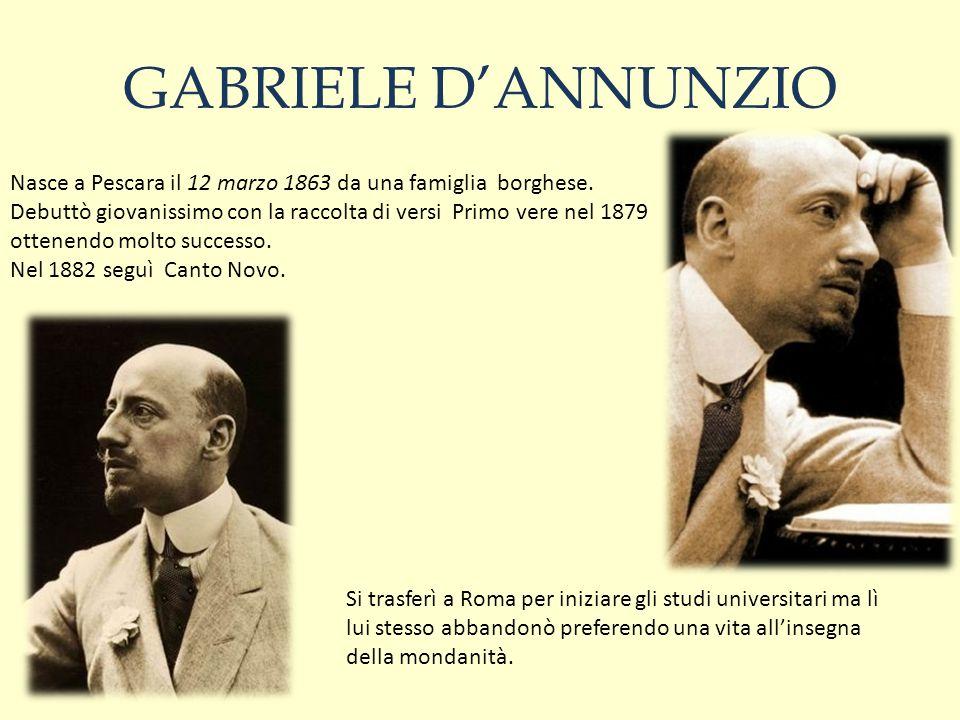 GABRIELE D'ANNUNZIO Nasce a Pescara il 12 marzo 1863 da una famiglia borghese.
