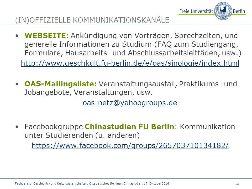13 Fachbereich Geschichts- und Kulturwissenschaften, Ostasiatisches Seminar, Chinastudien, 17.